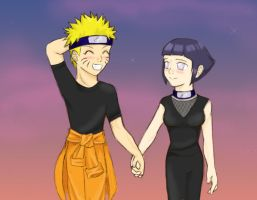 NaruHina: Sunset Walk by RoninChan