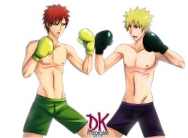 Gaara and naruto boxing COMMISSION by DKSTUDIOS05