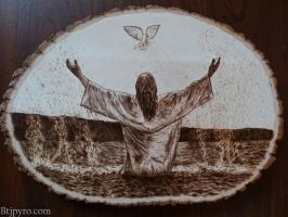 Baptism of Jesus - Wood Burning by brandojones
