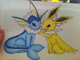 Vaporeon and Jolteon by sazmullium