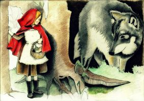 Red Riding Hood and the Wolf by dr4wing-pencil