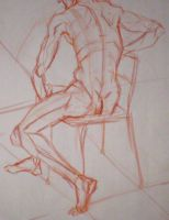 Seated Male Nude by Pomegranate-Pen