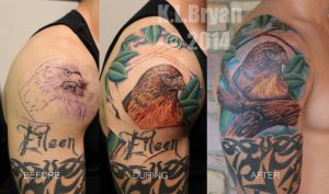 Red tail hawk coverup tattoo complete by danktat