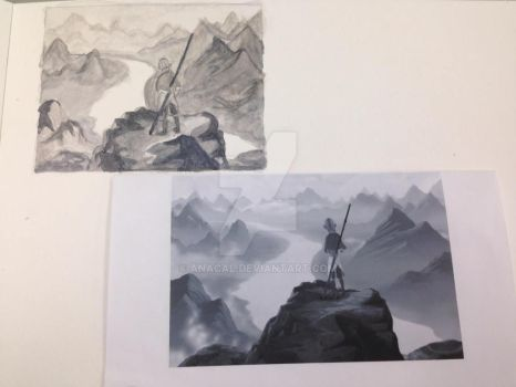 Aang on the mountain by anacal