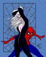 Black Cat and Spidey - Colored by pascal-verhoef