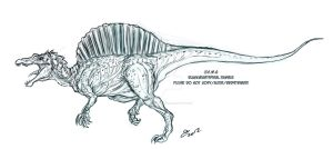 Commission Sketch Spinosaurus by BLACK-HEART-SPIRAL