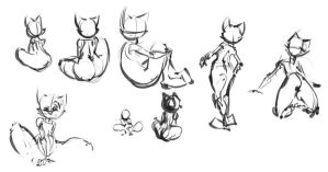 Sketches - anthro cat by GatoDelCielo