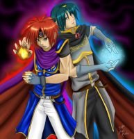 Fire and Ice - Marth and Roy by yamiyugi