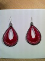 Peruvian Thread Earrings Pink by peachfuzz22