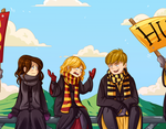 Commission - Gryffindor vs. Hufflepuff by Tokio92
