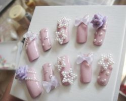 Re-photograph of my pastel purple 3d nail set by jadelushdesigns