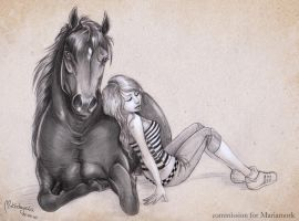 Commission: girl and a horse by Aomori