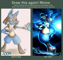 Draw This Again Meme: Lucario by Smudgeandfrank