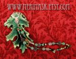 Leather Oak Leaf Clip in Green and Gold With Coppe by merimask