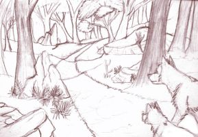 Forest Path Sketch by Tephra76