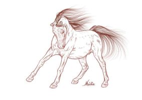 Free Lineart - Andalusian 01 by JulieBales