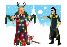 O Christmas Thor by SumtimesIplaytheFool