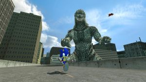 Sonic in Godzilla: preview 2 by jrc1120