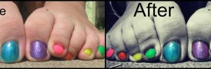 Rainbow Toes. Before and After by Skysofdreams-Stock