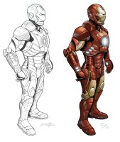 Iron Man - ink and color by barneybluepants
