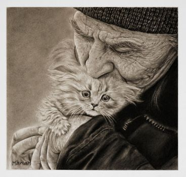 old man and a kitty by minkorarin