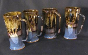 Tall mugs with Blue Bottoms by JayRoth