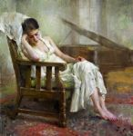 "Mary Qian  White II  18""x17"" by OilPaintersofAmerica"