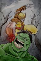 wolverine vs. hulk by mjfletcher