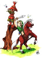 Link and the Skull Kid by Ahr0