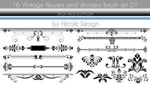 16 Vintage flowers and dividers brush set 01 by noema-13