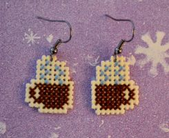 Cross Stitch Earrings -Cup of Delight- by HopperARTZ