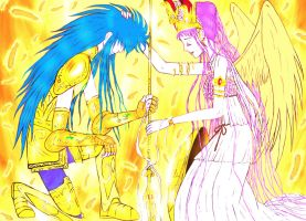 Athena and her Golden Saint by 000SkyArrow000