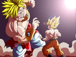 Broly and Goku by Sersiso
