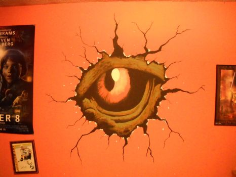 Godzilla eye mural by kaijugroupie84