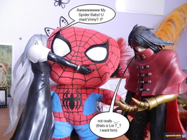 Sephiroth and Vincent meet Spider-Baby by Miss-Sweetlivvy