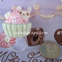 Mint Pink Choco Bunny Ring by CatNapCaps