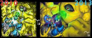 Progress 2010-2013 Megaman X vs Evil Devil by TheKidOfDrawing