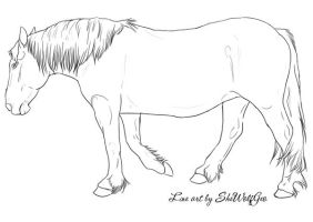 Free Line Art 4 - Draft Horse by SheWolfGeo