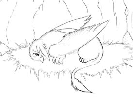 Gilda in her nest sketch by Skunkiss