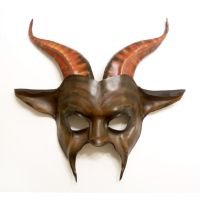 Leather Goat Mask black brown chestnut by Teonova by teonova