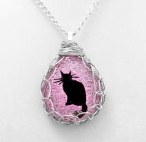 Pink Wire Wrapped Glass Cat by HoneyCatJewelry