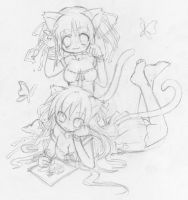 Two artists - sketch by GaMu-ChAn