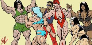 Musclegirl mayhem by LymanDally