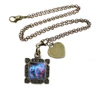 Vintage Bronze Blue and Pink Nebula Necklace by crystaland