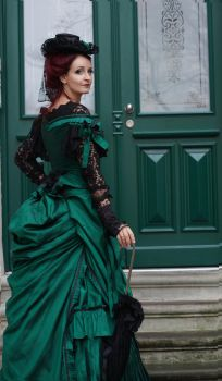 Stock - Victorian Lady green gown smile back by S-T-A-R-gazer