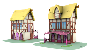 Ponyville Model - Courtyard_B (Game/Animation) by discopears