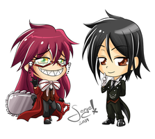 20140322 - Sebastian and Grell Chibi by keitenstudio