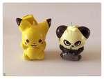 Pikachu and Pancham Charms by MeckelFoxStudio
