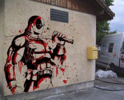 Deadpool wall by andyNroses