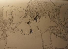 Eren with dog by T0ria